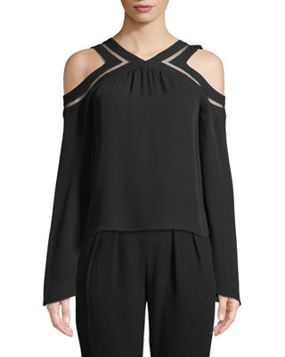 Lex Cold-Shoulder Silk Blouse with Mesh Trim