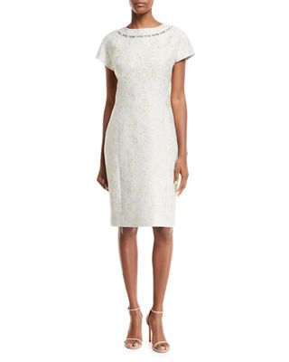 Jacquard Short-Sleeve Dress w/ Pearly Detail