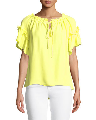 Santorini Ruffle Short-Sleeve Top