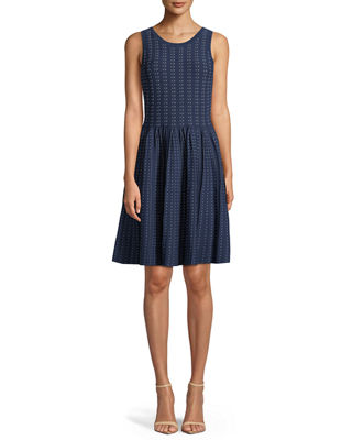 Sleeveless Dot Dress w/ Pleated Skirt