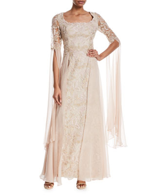 Draped Lace Scoop-Neck Gown