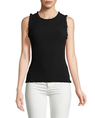 Milly Sleeveless Ruffle Ribbed Top