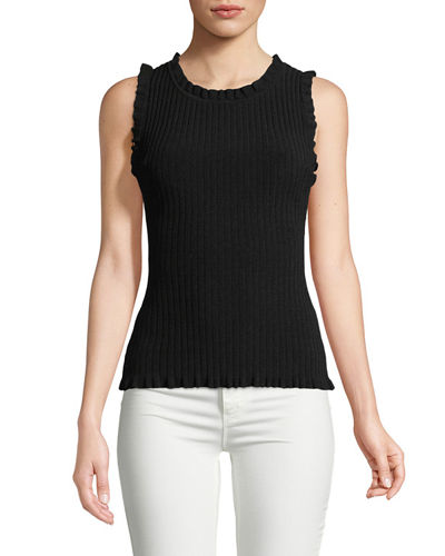 Sleeveless Ruffle Ribbed Top