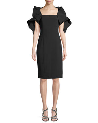 Origami-Sleeve Cocktail Sheath Dress