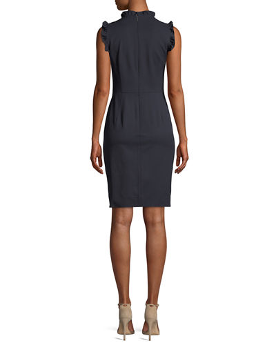 Spring Ruffle Sleeveless Sheath Dress