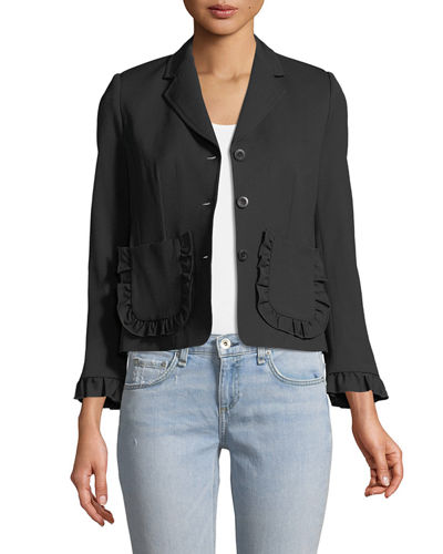 Spring Ruffle Single-Breasted Wool Jacket