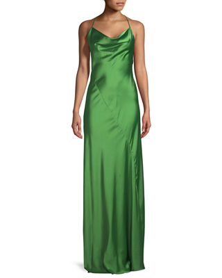 Sleeveless Cowl-Neck Bias-Seam Satin Evening Gown