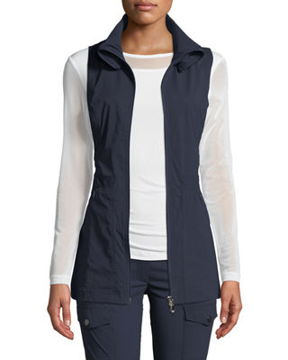 ANATOMIE Deleney Long Zip-Front Vest in Navy