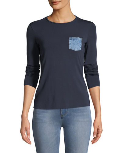 Take A Hike Long-Sleeve Crewneck Top with Denim Patch