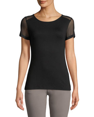 ANATOMIE Melissa Sheer-Panel Short-Sleeve T-Shirt in Black