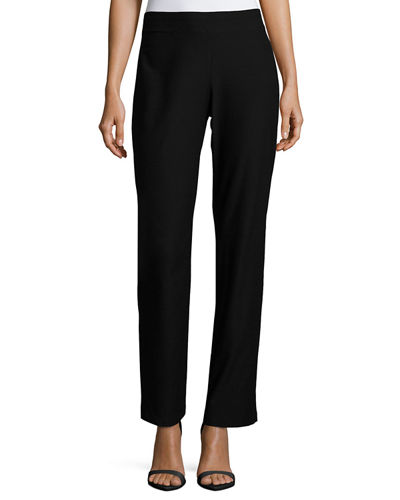 Eileen Fisher Petite Washable-Crepe Boot-Cut Pants