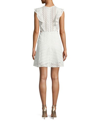 Kira Eyelet Frill Short Dress