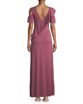 Image 2 of 2: Amelia Open-Shoulder Ruffle Jersey Maxi Dress
