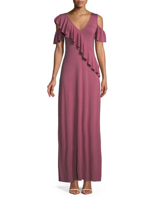 Image 1 of 2: Amelia Open-Shoulder Ruffle Jersey Maxi Dress