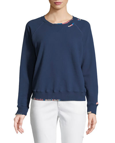 Crewneck Raglan Sweatshirt with Topstitching