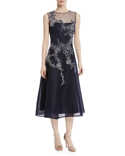 Floral Embroidery Mesh-Yoke Cocktail Dress