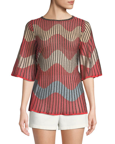 Metallic Wave Intarsia-Knit Top