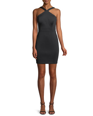 Aidan by Aidan Mattox Lattice Halter Mini Dress