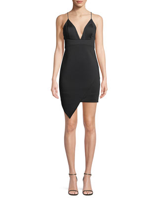 Aidan by Aidan Mattox Asymmetric V-Neck Mini Dress
