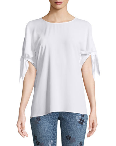 Cold-Shoulder Bow-Sleeve Top