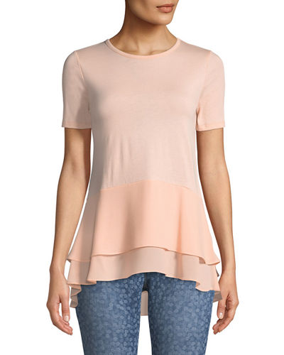Double-Hem Short-Sleeve Top