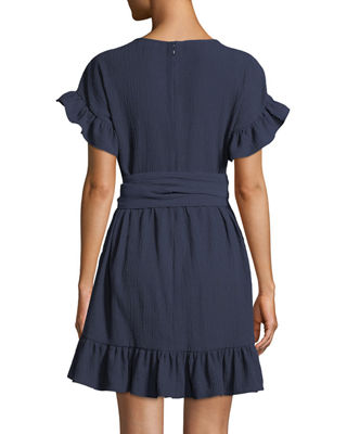 Image 2 of 3: Ruffle-Trim Mini Wrap Dress