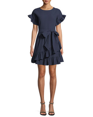 Ruffle-Trim Mini Wrap Dress