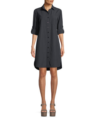 Alex Easy Tab-Sleeve Shirtdress