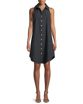 Finley Sleeveless Swing Button-Front/Back Shirtdress