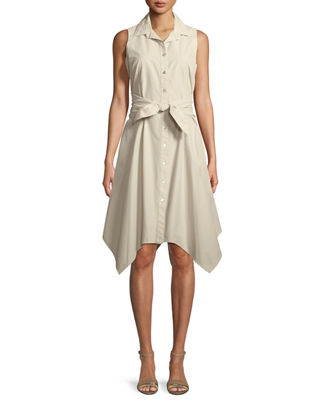 Finley Sara Sashed Sleeveless Button-Front Dress