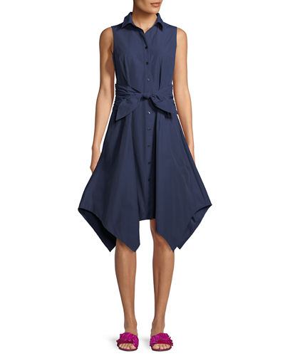 Sara Sashed Sleeveless Button-Front Dress