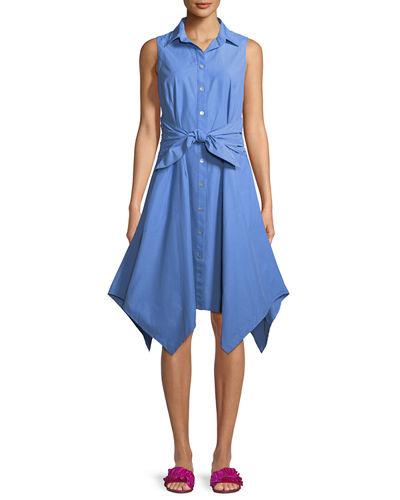 428c379f8ce Finley Sara Sashed Sleeveless Button-Front Dress In Pale Peri Blue ...