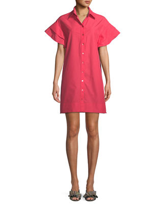 Finley Butterfly Ruffle-Sleeve Camp Dress