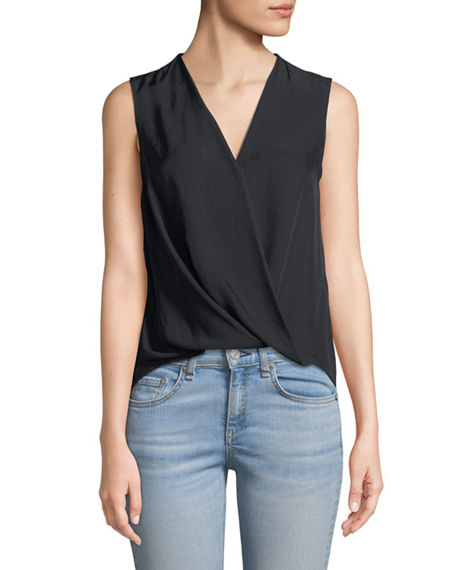 Image 1 of 3: Rag & Bone Victor Sleeveless Wrap-Front Blouse