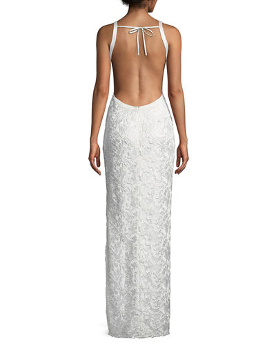 Cutout-Back Lace Halter Gown