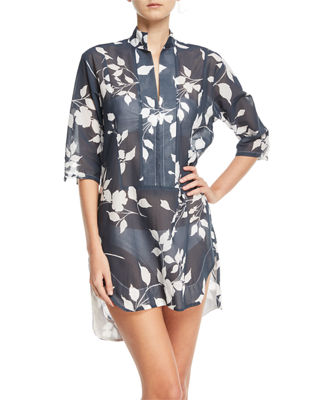 Empress Floral-Print Cotton Gauze Shirtdress Coverup