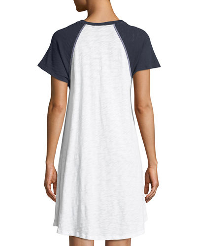 Slub Cotton Jersey Raglan Short-Sleeve Baseball Shirtdress