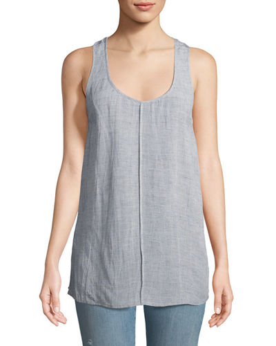 Indy Scoop-Neck Racerback Linen-Blend Top