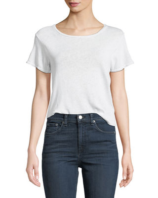 J Brand Nerd Short-Sleeve Linen/Cotton Tee