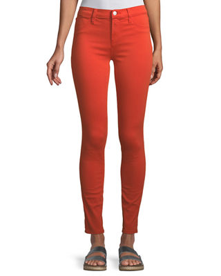 J Brand Woman Mid-rise Bootcut Jeans Bright Orange Size 29 J Brand