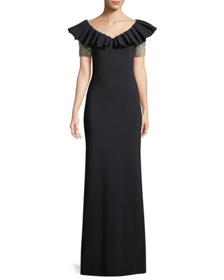 Image 1 of 3: Veridiana Mermaid Off-the-Shoulder Gown