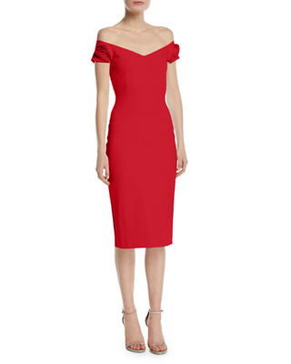 Kajsa Rose-Sleeve Off-the-Shoulder Cocktail Dress