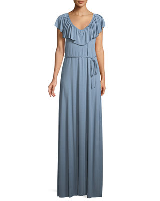 Rachel Pally Loren Ruffled-Yoke Long Dress