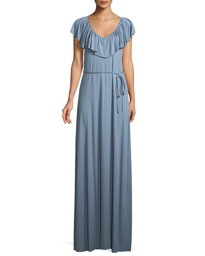 Loren Ruffled-Yoke Long Dress