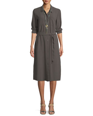 Eileen Fisher Long-Sleeve Belted Silk Shirtdress
