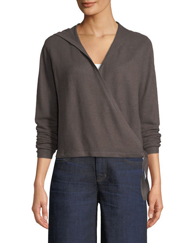 Eileen Fisher Hooded Wrap Organic Linen Cardigan and