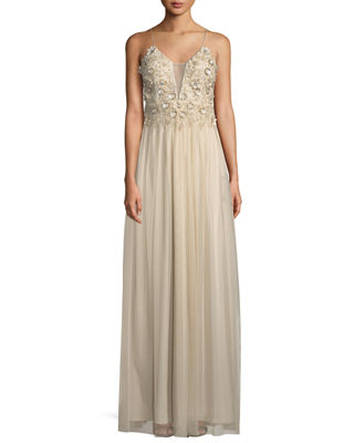Illusion Plunge Gown with Beading and Flowers