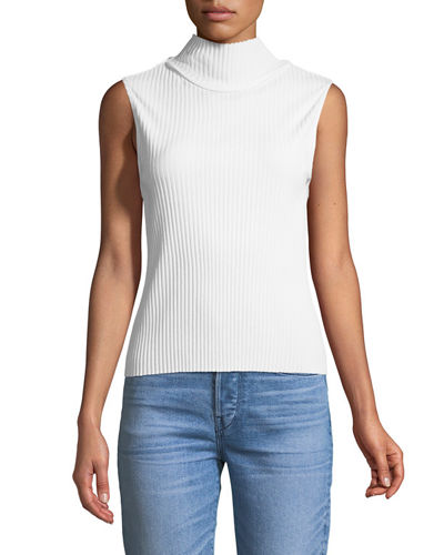 Turtleneck Rib-Knit Tank