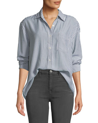 7 for all mankind High-Low Tie Long-Sleeve Button-Front