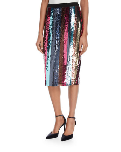 Samia Straight Sequin Skirt